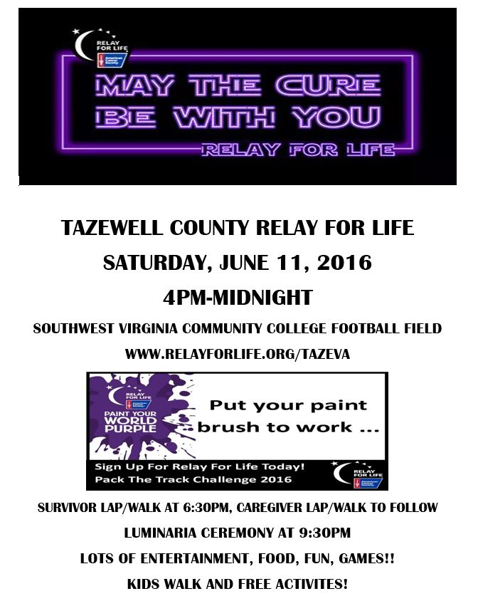 Tazewell County Relay for Life @ Southwest Virginia Community College Football Field