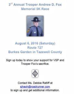 3rd Annual Trooper Andrew Fox Memorial 5K @ Burke's Garden - Route 727