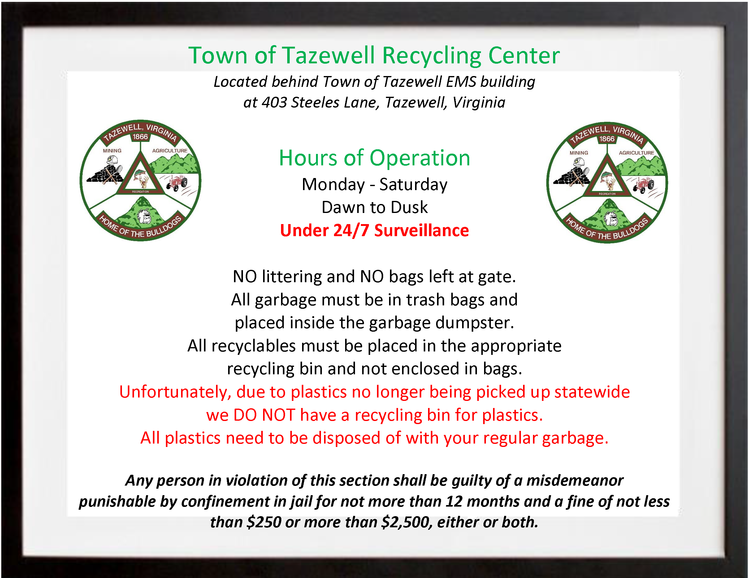 Christmas Break 2021 Tazewell County Recycling Center Town Of Tazewell